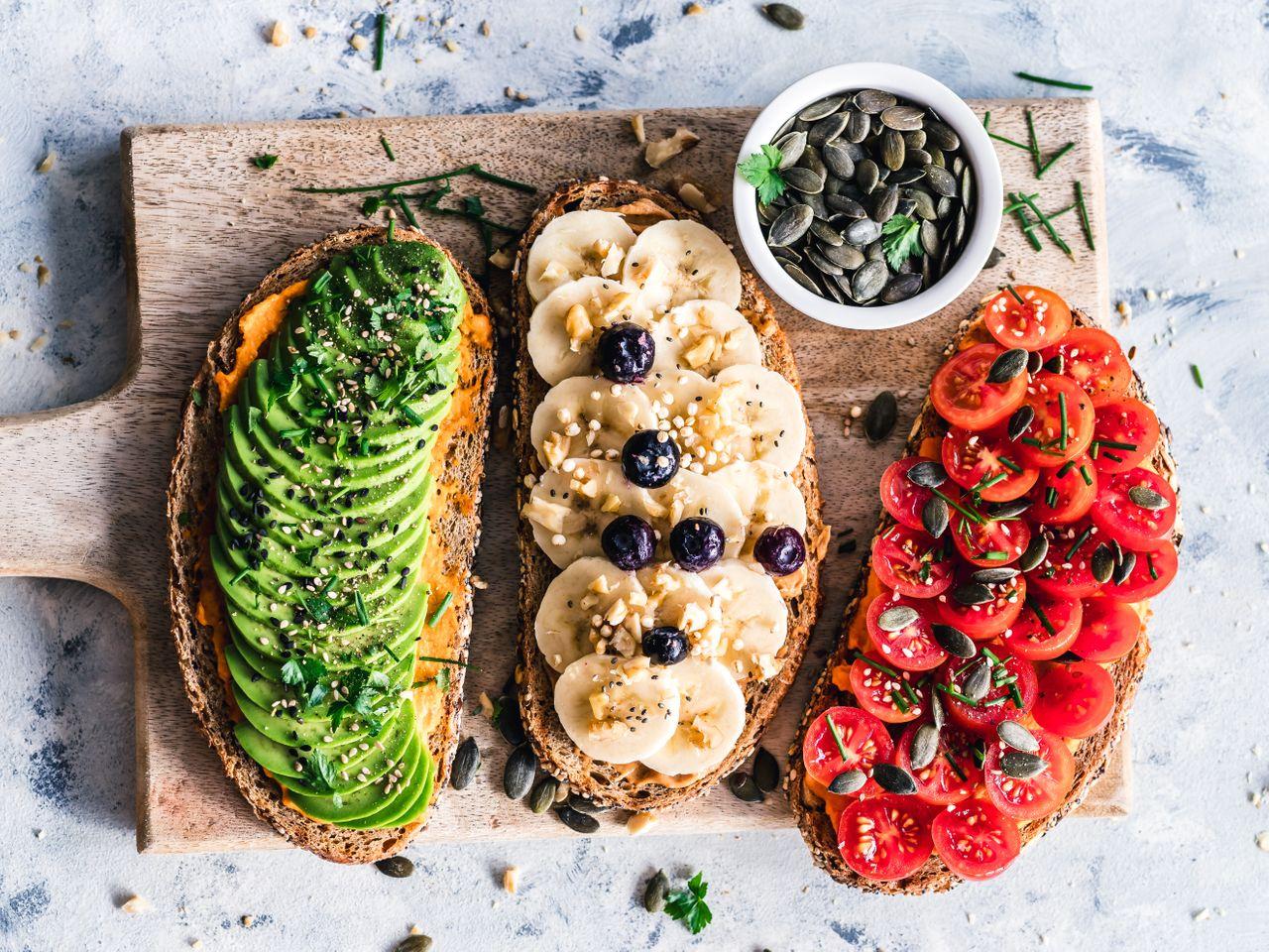 Vegan foods on toast