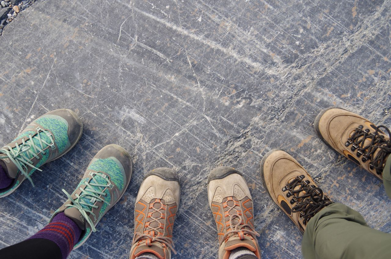 Durable and sustainable shoes on mountain